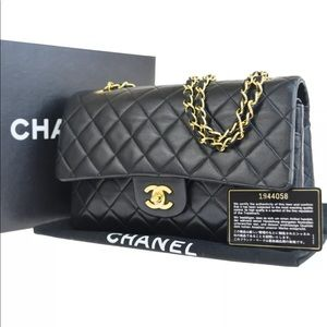 CHANEL Double Flap CC Black Gold Shoulder Handbag